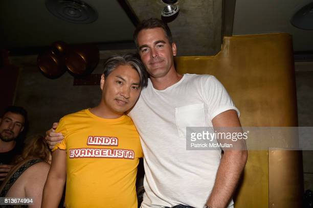 Parke Lutter and Andrew Freesmeier attend the Parke Ronen 20th Anniversary after party at The Gilded Lily on July 12 2017 in New York City