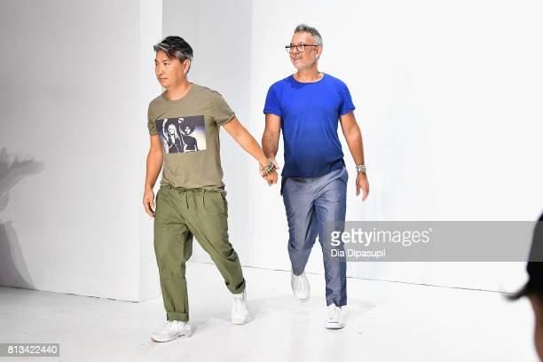 Parke Lutter and Ronen Jehezkel walk the runway at the Parke Ronen Spring 2018 show on July 12 2017 in New York City