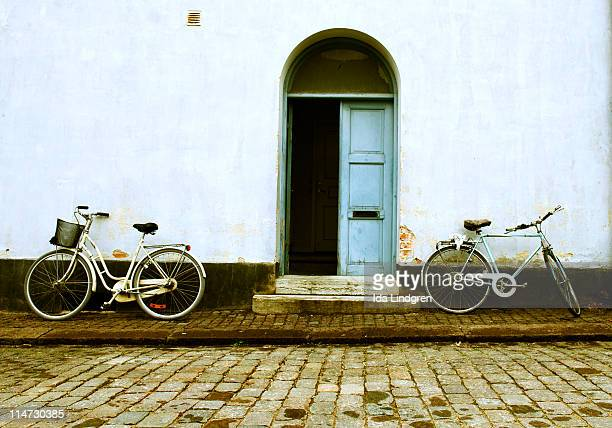 Parked bikes in old town of Visby