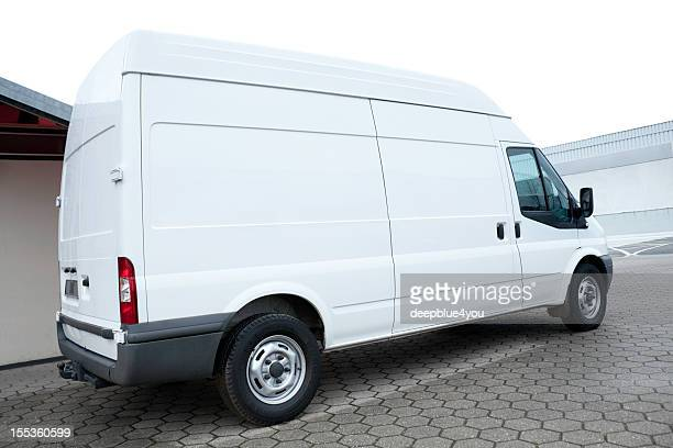 parked blank white van - van stock pictures, royalty-free photos & images