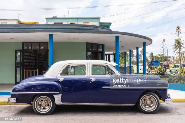parked blue vintage car, havana, cuba - vintage car stock pictures, royalty-free photos & images