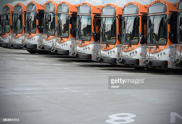 Geparkt Busse in line