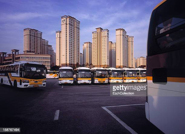 Parked busses at the Express Bus Terminal in Seoul