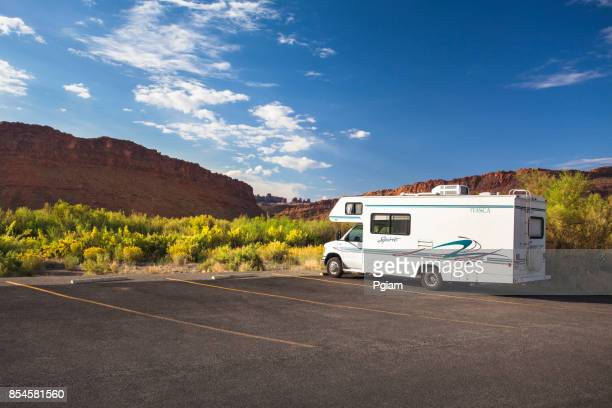 RV parked in the canyon of Arches National Park