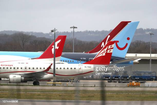 Parked planes at Gatwick airport on December 20 2018 in London England Authorities at Gatwick closed the runway after drones were spotted over the...