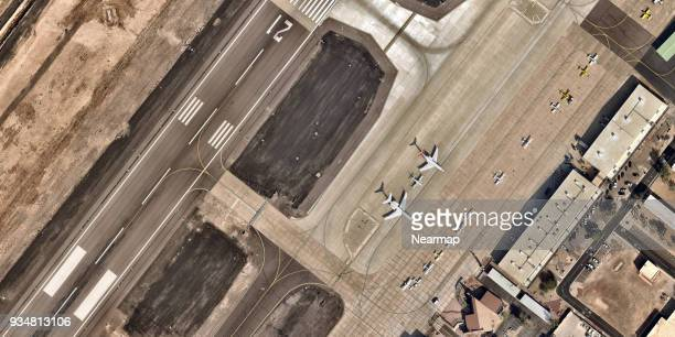 Parked planes from above at airport
