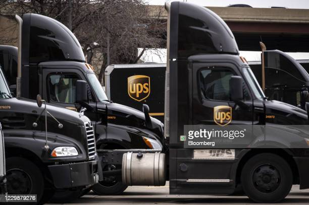 Parked United Parcel Service Inc. Trucks outside a distribution center in Chicago, Illinois, U.S., on Monday, Nov. 30, 2020. Online shoppers in the...