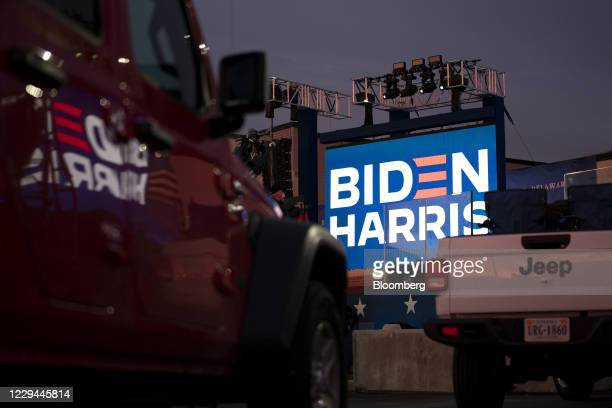 Parked vehicles ahead of a drive-in election night party for Joe Biden, 2020 Democratic presidential nominee, at the Chase Center in Wilmington,...