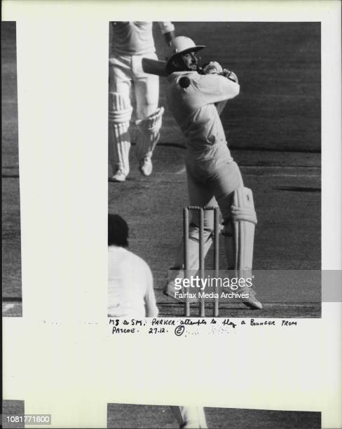 Parker attempts to play a bouncer from Pascoe
