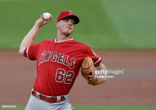 Parker Bridwell of the Los Angeles Angels of Anaheim delivers a pitch against the Minnesota Twins during the first inning of the game on July 5 2017...