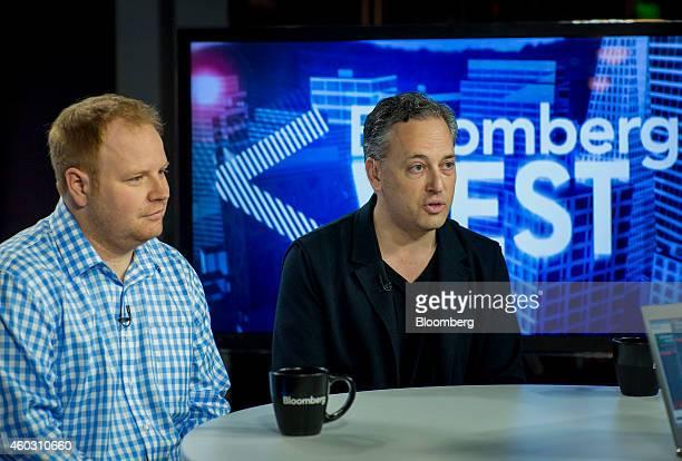 Parker Conrad cofounder and chief executive officer of Zenefits left listens as David Sacks cofounder of PayPal and chief operating officer of...