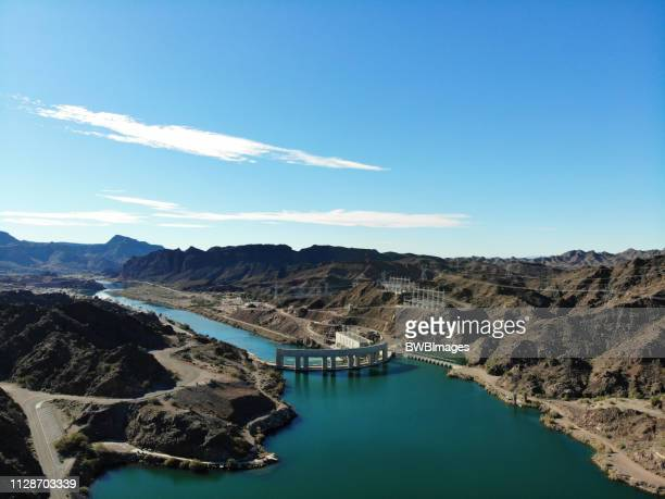parker dam aerial 1 - lake havasu stock photos and pictures