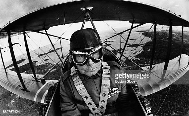 Parker Dunton chief pilot of the Owls Head Transportation Museum flies a replica 1916 FE8 over Penobscot Bay on the Maine coast on June 28 1983 The...