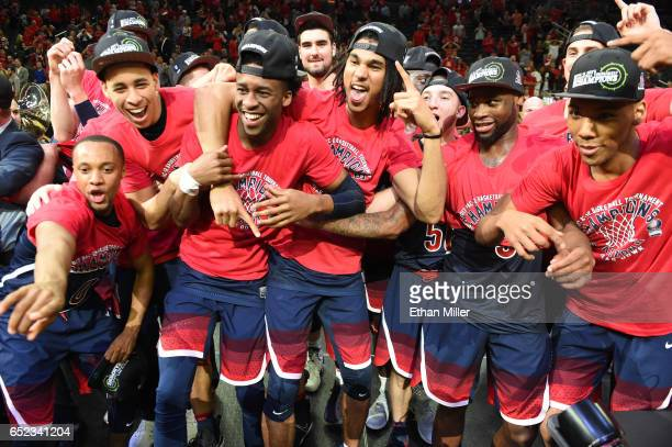 Parker JacksonCartwright Chance Comanche Kobi Simmons Keanu Pinder Kadeem Allen and Allonzo Trier of the Arizona Wildcats celebrate after their 8380...