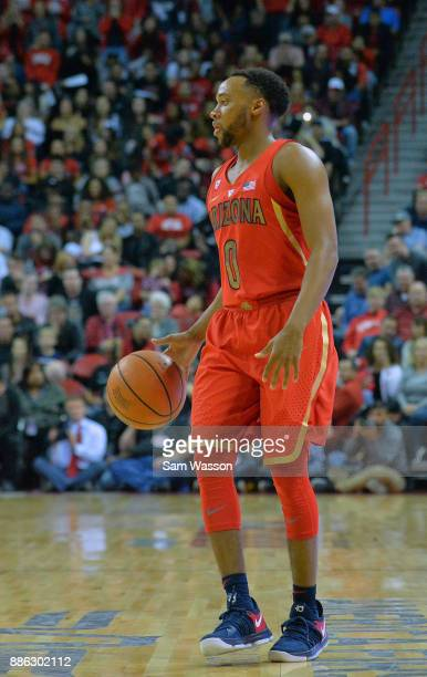 Parker JacksonCartwright of the Arizona Wildcats dribbles agains the UNLV Rebels during their game at the Thomas Mack Center on December 2 2017 in...