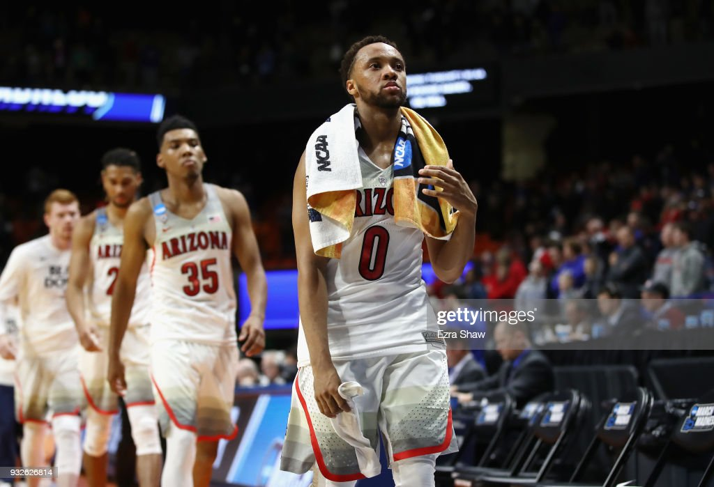 Parker Jackson-Cartwright #0 of the Arizona Wildcats leaves the court after being defeated by the Buffalo Bulls 89-68 during the first round of the 2018 NCAA Men's Basketball Tournament at Taco Bell Arena on March 15, 2018 in Boise, Idaho.
