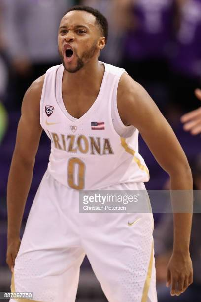 Parker JacksonCartwright of the Arizona Wildcats reacts during the college basketball game against the Texas AM Aggies at Talking Stick Resort Arena...