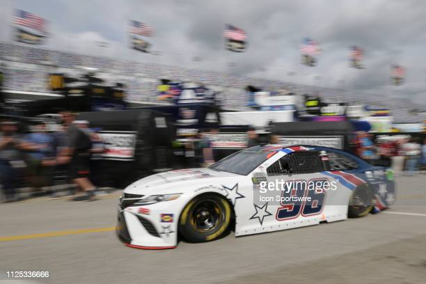Parker Kligerman driver of the Gaunt Brothers Racing Gaunt Brothers Racing/Toyota Toyota Camry during final practice for the Daytona 500 on February...