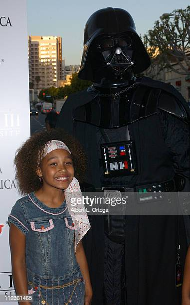 Parker McKenna Posey and Darth Vader during 'Star Wars Episode III Revenge of The Sith' Premiere to Benefit Artists for a New South Africa Charity...
