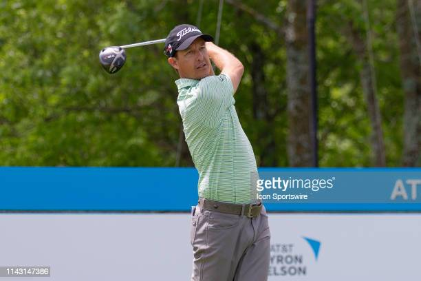 Parker McLachlin hits his tee shot on during the first round of the ATT Byron Nelson on May 9 2019 at Trinity Forest Golf Club in Dallas TX