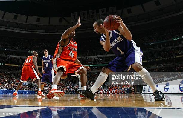 Parker of the Northwestern Widcats looks to mave the ball against Luther Head of the Illinois Fighting Illini during the quaterfinals on the second...