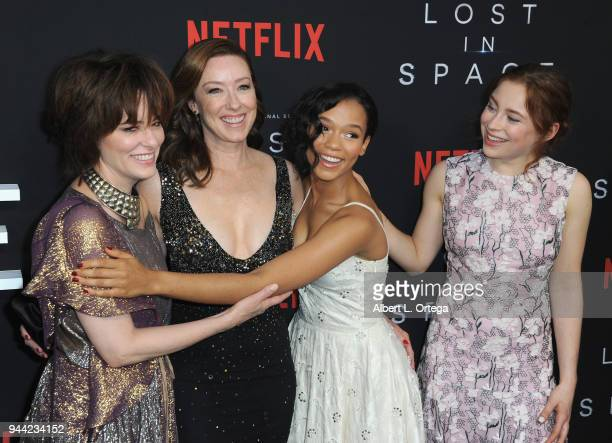 Parker Pose Molly Parke Taylor Russell and Mina Sundwall arrives for the Premiere Of Netflix's 'Lost In Space' Season 1 held at The Cinerama Dome on...