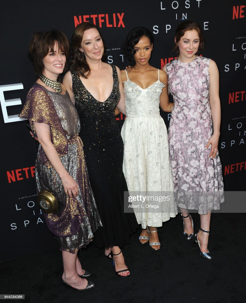 Parker Pose, Molly Parke, Taylor Russell and Mina Sundwall arrives for the Premiere Of Netflix's 'Lost In Space' Season 1 held at The Cinerama Dome on April 9, 2018 in Los Angeles, California.