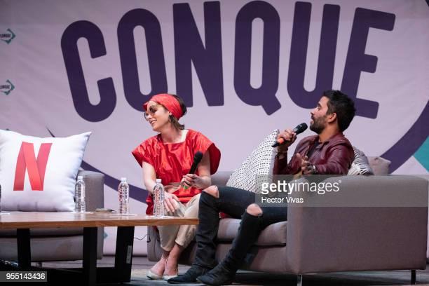 Parker Posey and Ignacio Serricchio attend a conference during the ConqueCon Queretaro 2018 at Queretaro Centro de Congresos on May 04 2018 in...