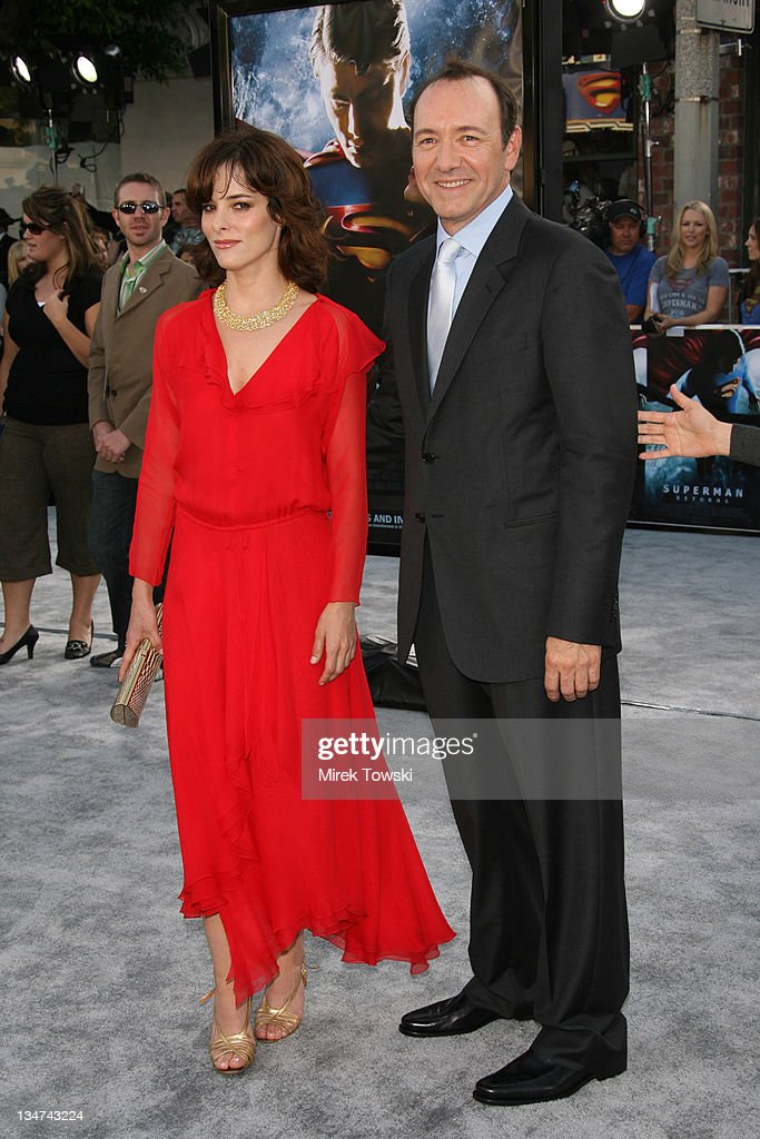 Parker Posey and Kevin Spacey during 'Superman Returns' Los Angeles Premiere at Mann Village and Bruin Theaters in Westwood, California, United States.