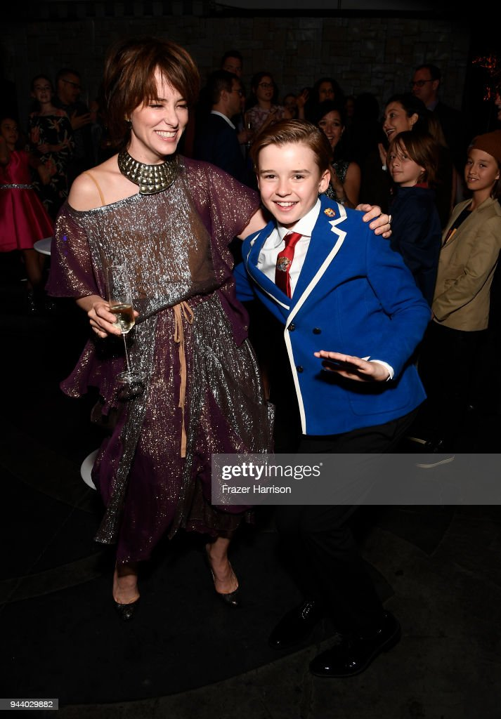 Parker Posey and Maxwell Jenkins attend the Premiere Of Netflix's 'Lost In Space' Season 1 After Party at Le Jardin LA on April 9, 2018 in Los Angeles, California.