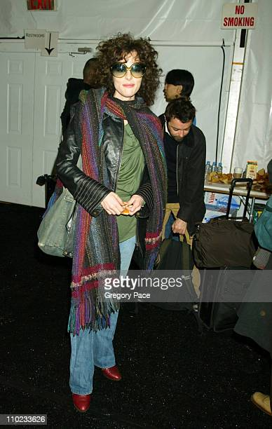 Parker Posey during Olympus Fashion Week Fall 2005 Project Runway Backstage and Front Row at Bryant Park Tents in New York City New York United States