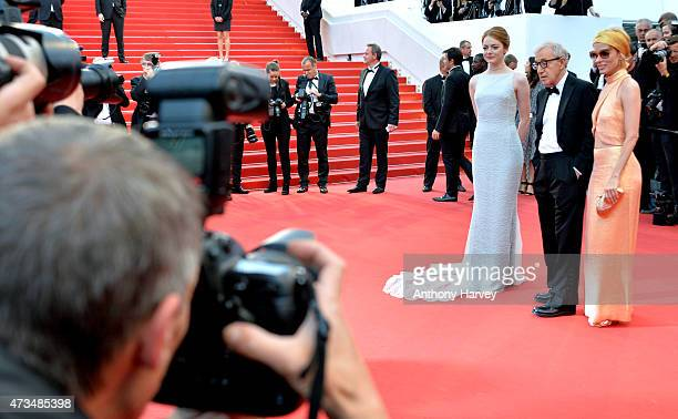 Parker Posey Emma Stone and Woody Allen attend the 'Irrational Man' premiere during the 68th annual Cannes Film Festival on May 15 2015 in Cannes...