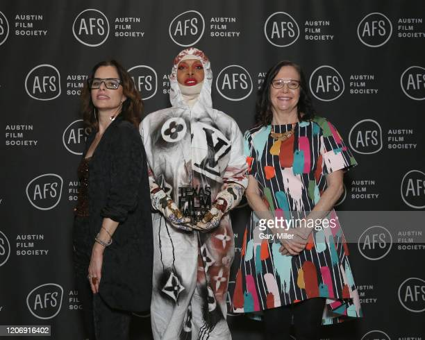 Parker Posey Erykah Badu and AFS CEO Rebecca Campbell attend the Austin Film Society's 20th annual Texas Film Awards at Creative Media Center at...