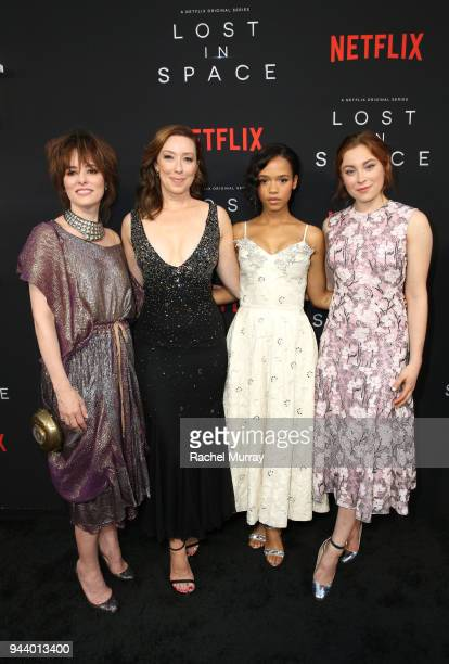 Parker Posey Molly Parker Taylor Russell and Mina Sundwall attend Netflix's 'Lost In Space' Los Angeles premiere on April 9 2018 in Los Angeles...