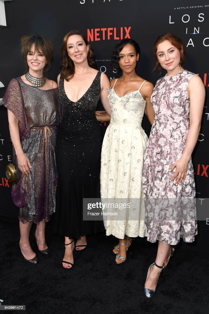 Parker Posey, Molly Parker, Taylor Russell, and Mina Sundwall attend the premiere of Netflix's 'Lost In Space' Season 1 at The Cinerama Dome on April 9, 2018 in Los Angeles, California.