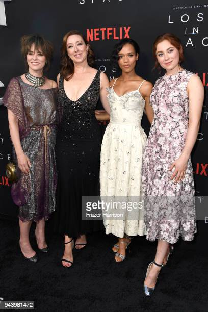 Parker Posey Molly Parker Taylor Russell and Mina Sundwall attend the premiere of Netflix's 'Lost In Space' Season 1 at The Cinerama Dome on April 9...