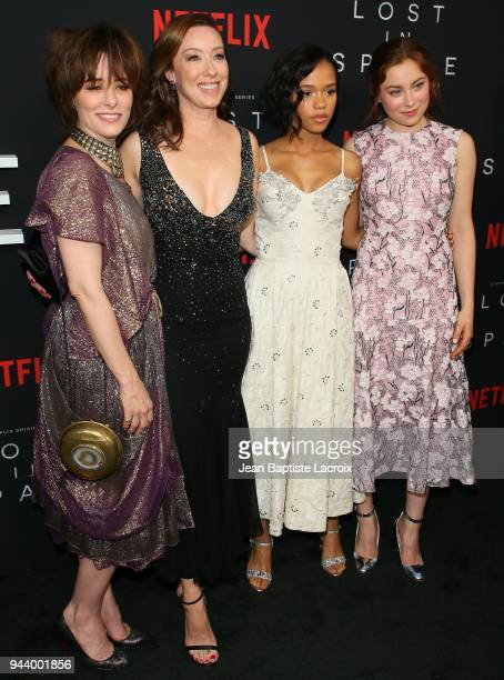 Parker Posey Molly Parker Taylor Russell and Mina Sundwall attend the premiere of Netflix's 'Lost In Space' Season 1 on April 9 2018 in Los Angeles...