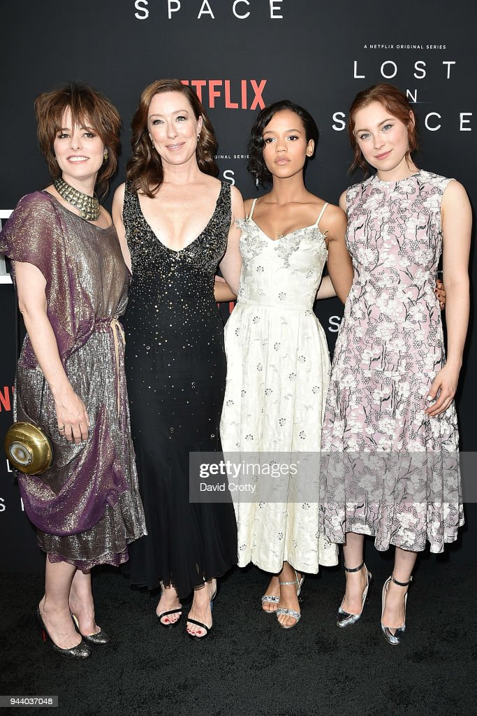 Parker Posey, Molly Parker, Taylor Russell and Mina Sundwall attend the 'Lost In Space' Season 1 Premiere at ArcLight Cinerama Dome on April 9, 2018 in Hollywood, California.