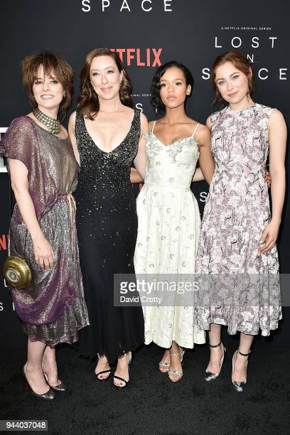 Parker Posey Molly Parker Taylor Russell and Mina Sundwall attend the Lost In Space Season 1 Premiere at ArcLight Cinerama Dome on April 9 2018 in...