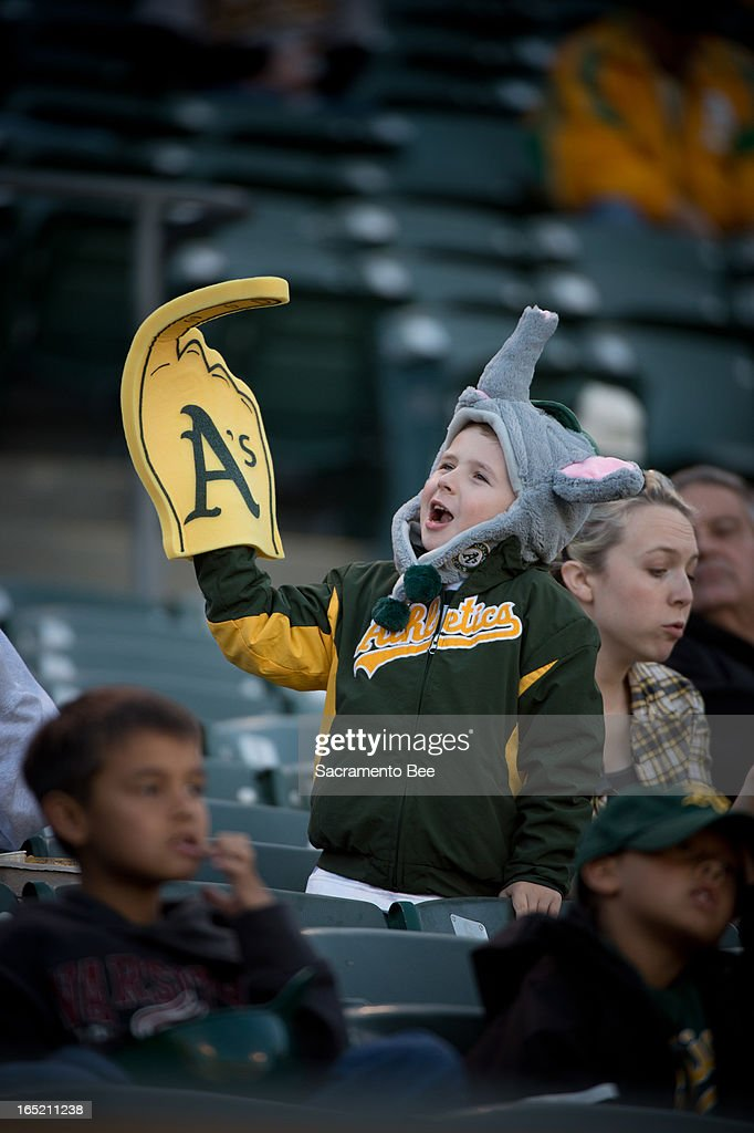Parker Taylor, 5, attends the Oakland Athletics opening-day game against the Seattle Mariners on Monday, April 1, 2013, at the O.co Coliseum in Oakland, California.