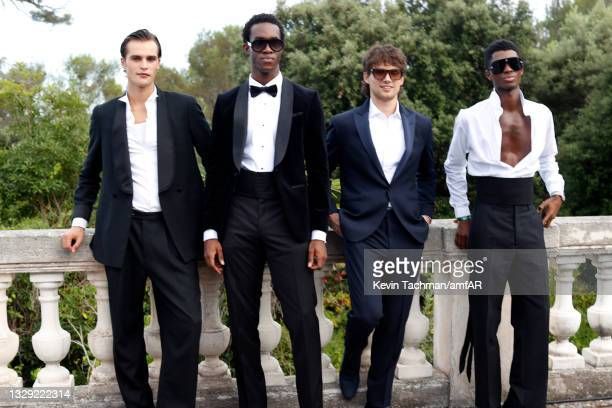 Parker Van Noord, Wisdom Kaye, William White and Alton Mason attend the amfAR Cannes Gala 2021 at Villa Eilenroc on July 16, 2021 in Cap d'Antibes,...