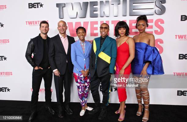 Parker Young Scott Mills Jonica T Gibbs Lena Waithe Christina Elmore and Gabrielle Graham attend the premiere of BET's Twenties at Paramount Studios...