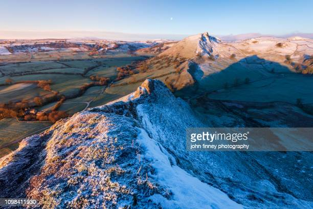 parkhouse hill winter sunrise, peak district national park. uk. - extreme terrain stock pictures, royalty-free photos & images