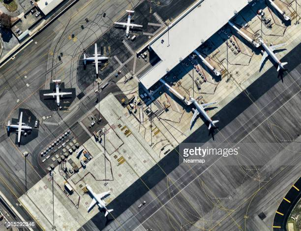parking airplanes, adelaide airport, south australia - adelaide stock pictures, royalty-free photos & images