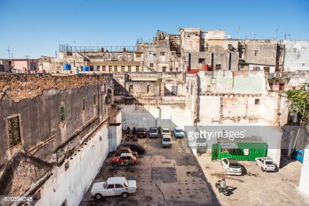 parking area at a backyard in havana, cuba - parking valet stock photos and pictures
