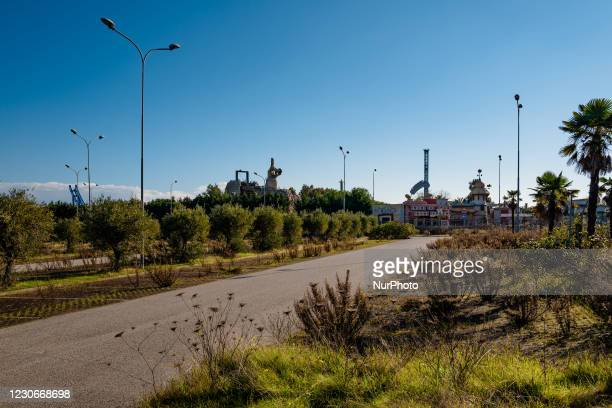 Parking area of the Miragica amusement park in a state of abandonment after the bankruptcy, in Molfetta, Italy on 19 January 2021. Miragica, the...