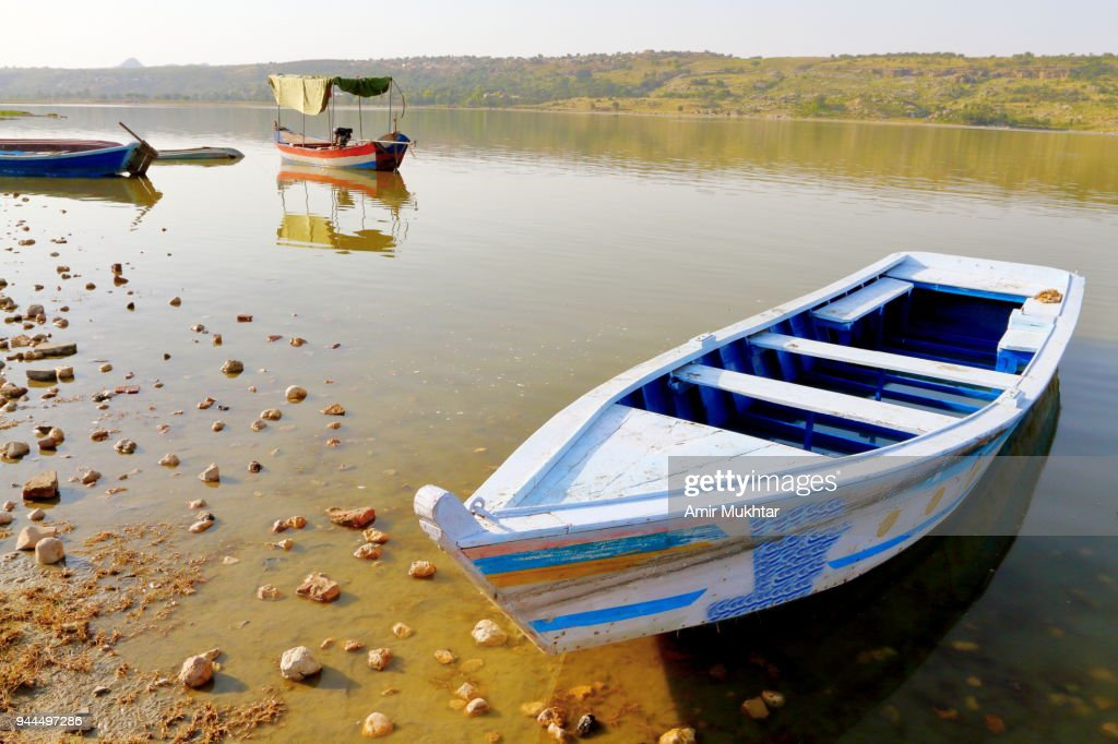 Parking boats in the lake : Stock Photo