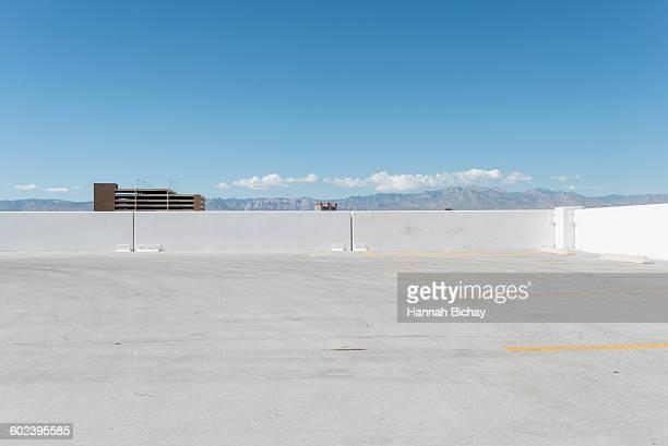 Parking deck in bright sunlight