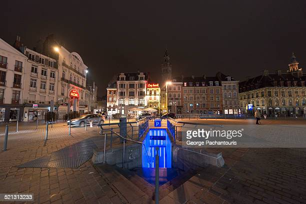 parking entrance in grand place, lille - underground sign stock pictures, royalty-free photos & images