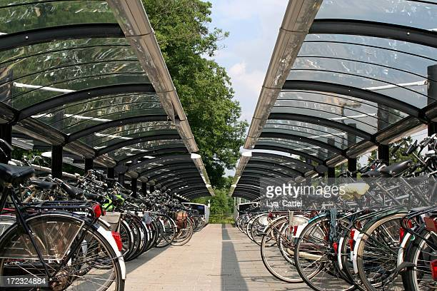 parking for bicycles # 1 - windbreak stock pictures, royalty-free photos & images